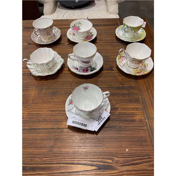 7 antique cup and saucers, royal Albert, delphine, royal Tara Irish, Roslyn