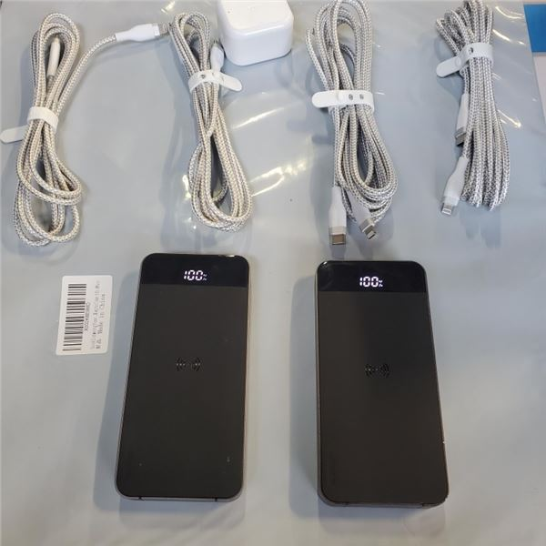 2 NEW WIRELESS CHARGING POWER BANKS WITH 4 NEW APPLE IPHONE CHARGE CORDS 2-10FT AND 2-6FT AND WALL P