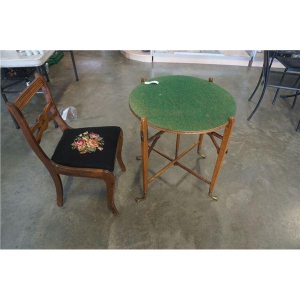 Vintage needlepoint chair and folding felt table