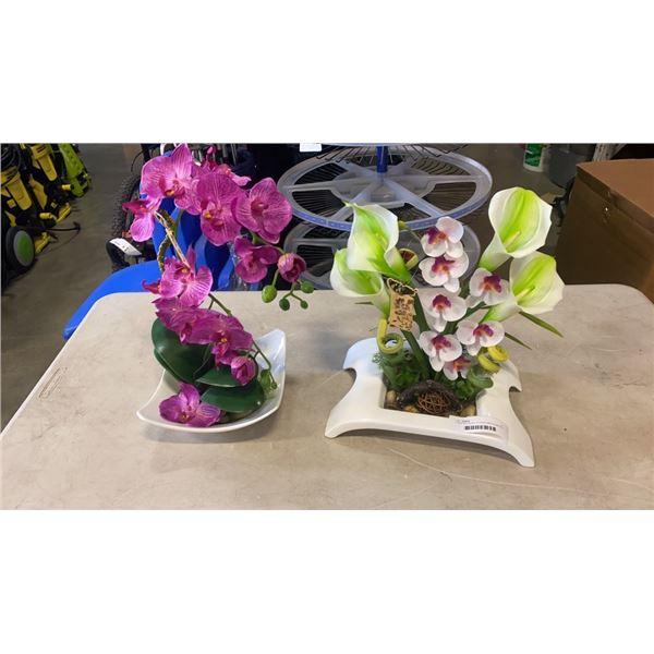 2 NEW ARTIFICIAL FLOWER ARRANGMENTS IN DECORATIVE BOWLS