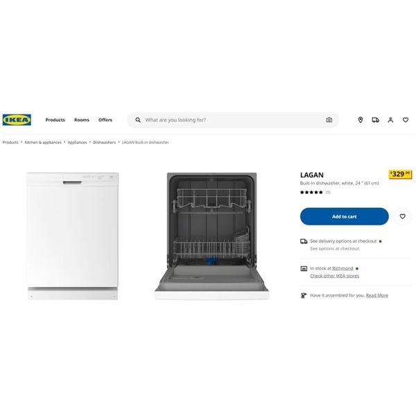 IKEA LAGAN DISHWASHER - RETAIL $329