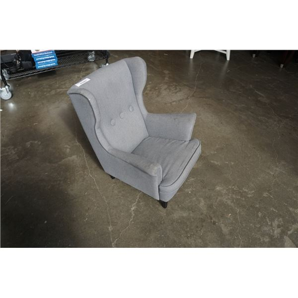 GREY BUTTONBACK KIDS WINGBACK CHAIR