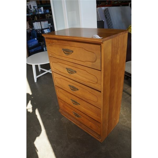 WOOD 5 DRAWER CHEST OF DRAWERS