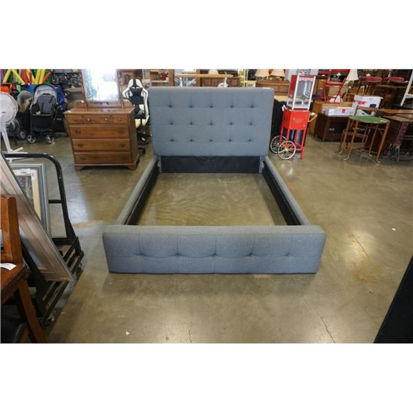 GREY FABRIC QUEENSIZE BED FRAME - NO LEGS
