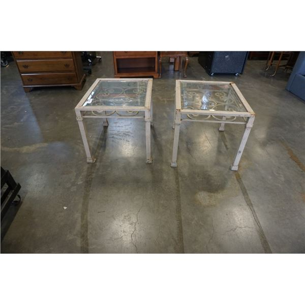 PAIR OF METAL FRAME GLASS TOP ENDTABLES
