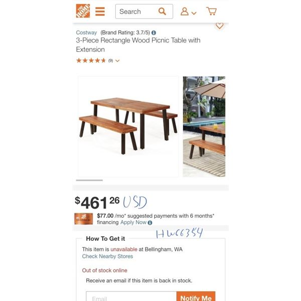 Costway 3-Piece Rectangle Wood Picnic Table with Extension