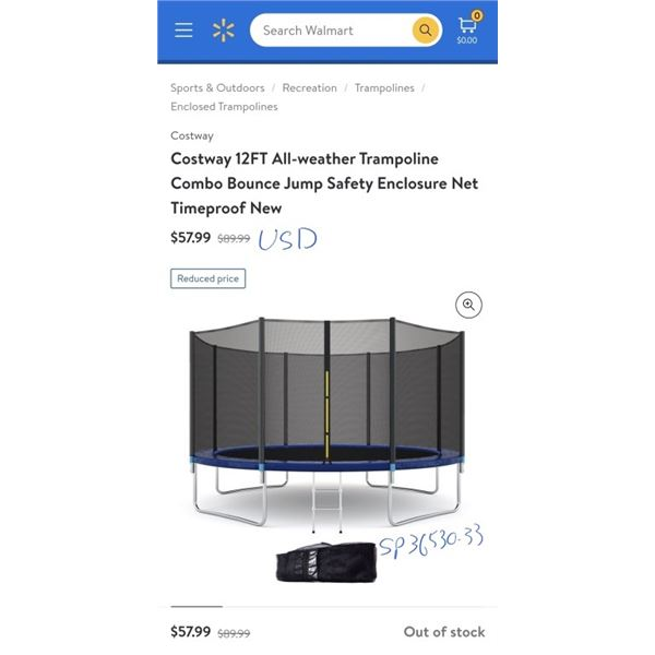 Costway 12FT All-weather Trampoline Combo Bounce Jump Safety Enclosure Net only Timeproof