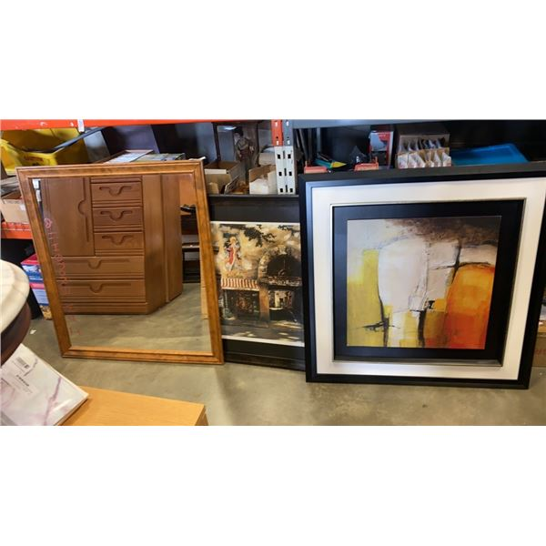 2 PRINTS AND FRAMED MIRROR