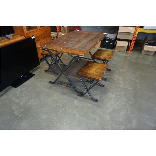 WOOD TABLE WITH 4 STOOLS