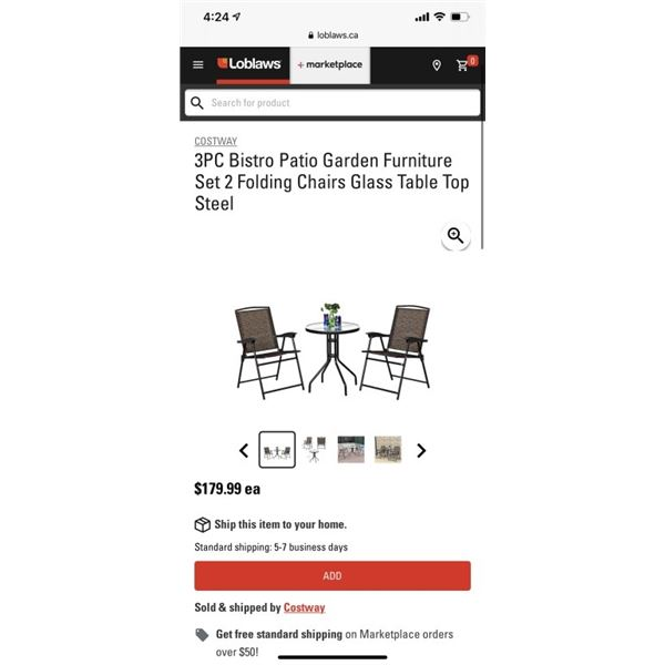 3PC Bistro Patio Garden Furniture Set 2 Folding Chairs Glass Table Top Steel