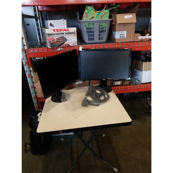 TWO BENQ 24 INCH MONITORS WITH ROTATING BASES