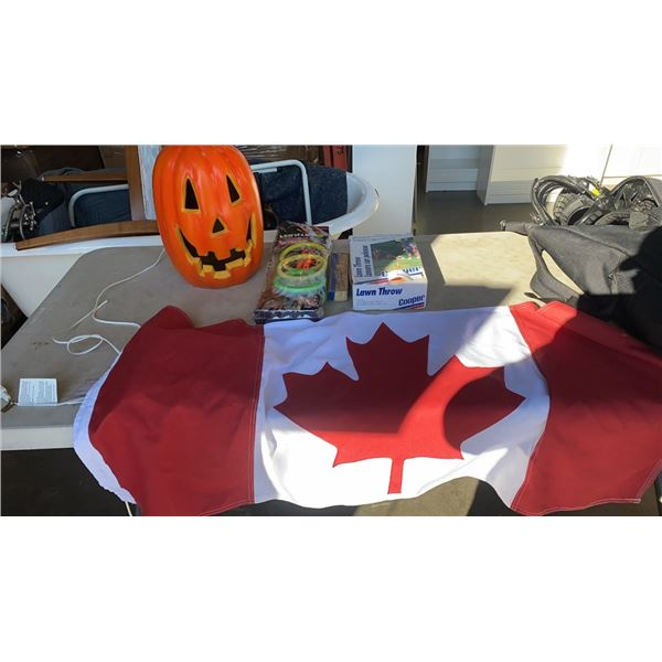 RING TOSS, LAWN DARTS, CANADIAN FLAG AND LIGHT UP PUMPKIN DECORATION