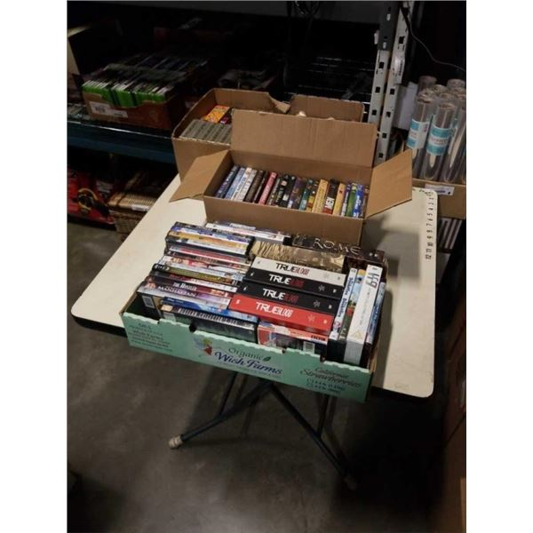 3 TRAYS OF DVDS, INCLUDES SERIES AND NEW BLANK VHS TAPES