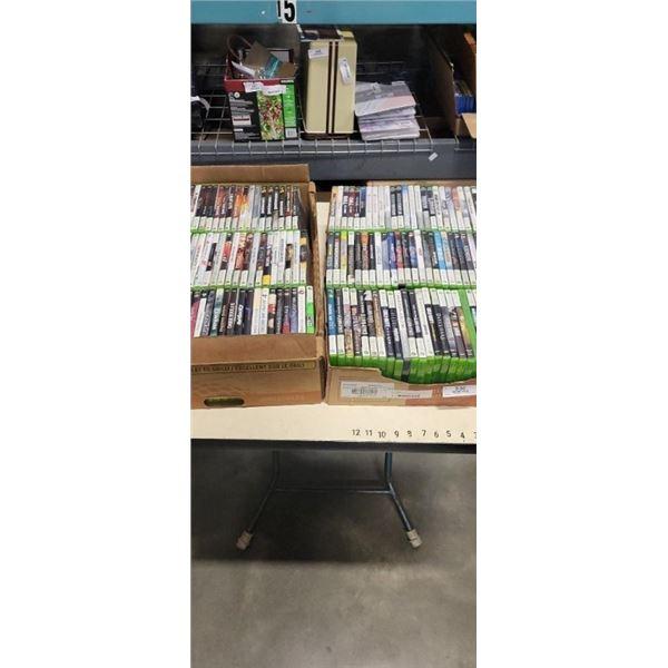 2 BOXES OF APPROXIMATELY 150 XBOX 360 GAMES ALPHABETIZED