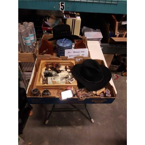 2 TRAYS OF WESTERN ACCESSORIES, JEWELRY AND COLLECTABLES, BOLO TIES AND DECORATIONS