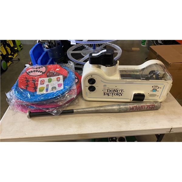 AUTOMATIC DONUT MAKER NO CORD, WITH NEW BASEBALL HAMPERS AND BAT
