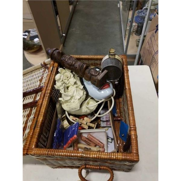 VINTAGE PICNIC BASKET AND CONTENTS, TOTEM POLE MASK AND MORE
