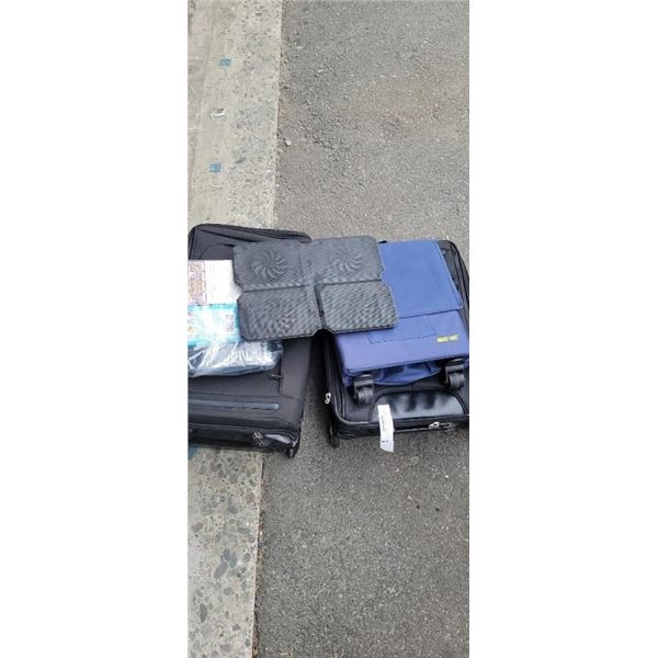 2 suitcases with rolling bag, laptop cooler and tarot cards