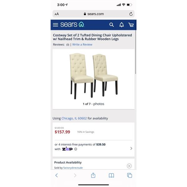 Costway Set of 2 Tufted Dining Chair Upholstered w/ Nailhead Trim & Rubber Wooden Legs