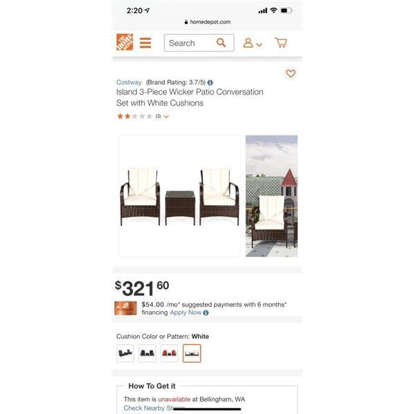 Island 3-Piece Wicker Patio Conversation Set with White Cushions