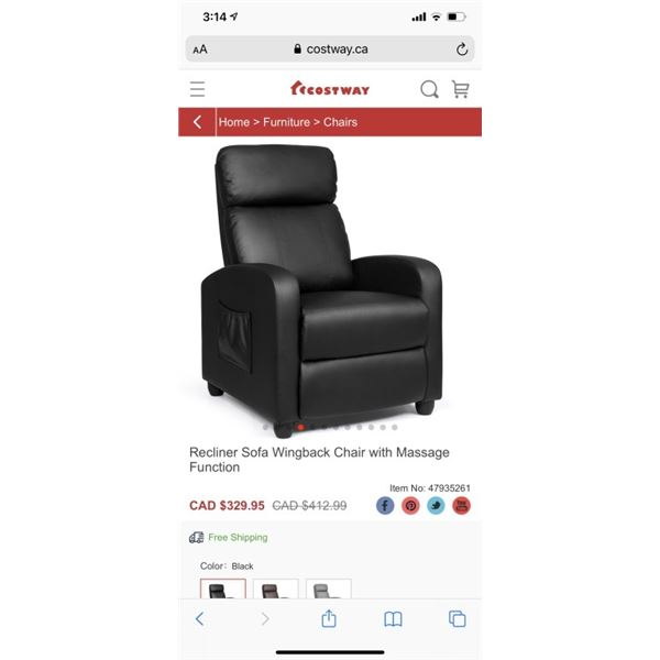 Recliner Sofa Wingback Chair with Massage Function
