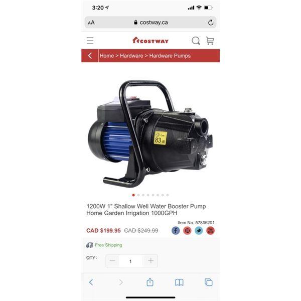 """1200W 1"""" Shallow Well Water Booster Pump Home Garden Irrigation 1000GPH"""