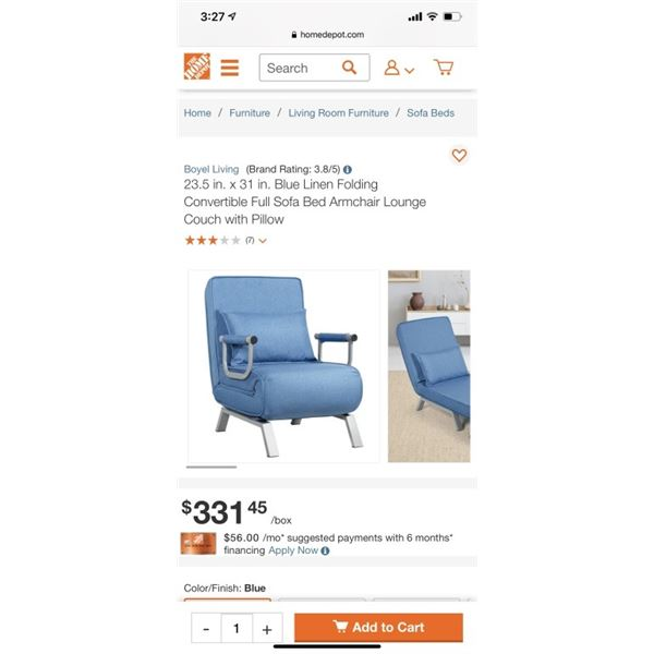 Blue Linen Folding Convertible Full Sofa Bed Armchair Lounge Couch with Pillow