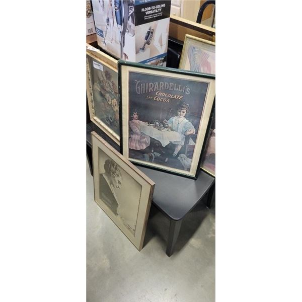 4 FRAMED ADVERTS AND PRINTS