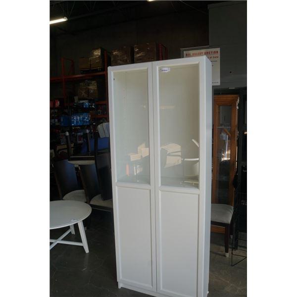 WHITE BOOKSHELF CABINET WITH GLASS DOORS