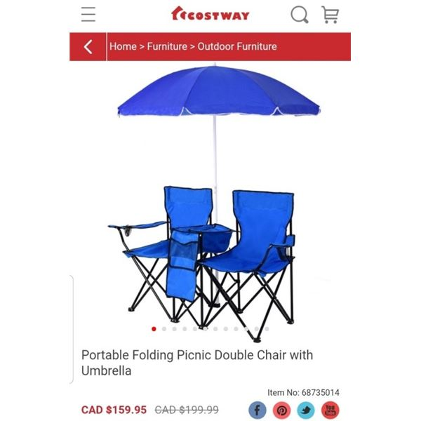 COSTWAY FOLDING DOUBLE BEACH CAMP CHAIR WITH UMBRELLA RETAIL - $159.95
