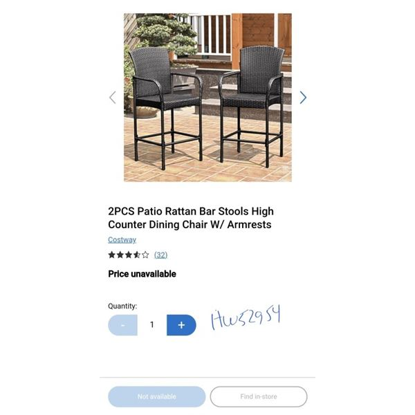 2PCS Patio Rattan Bar Stools High Counter Dining Chair W/ Armrests