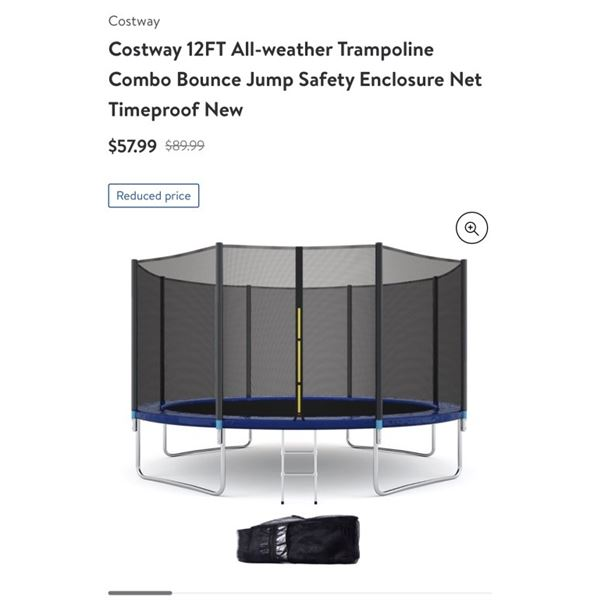 COSTWAY 12 FOOT ALL WEATHER TRAMPOLINE ENCLOSURE NETS RETAIL $57.99