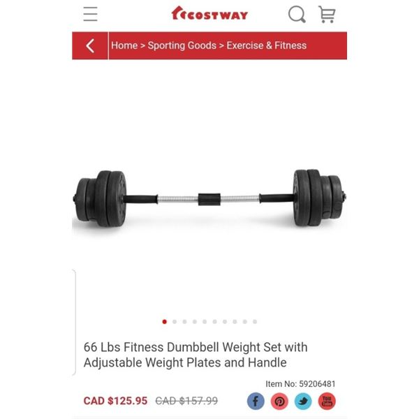 COSTWAY 66LB DUMBELL WEIGHT SET RETAIL $129.95