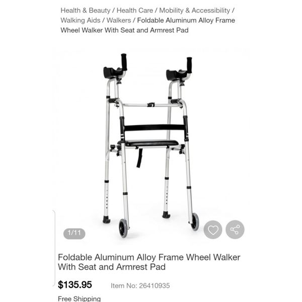 COSTWAY FOLDING ALUMINUM FRAME WHEEL WALKER WITH SEAT AND ARM RESTS RETAIL $135.95