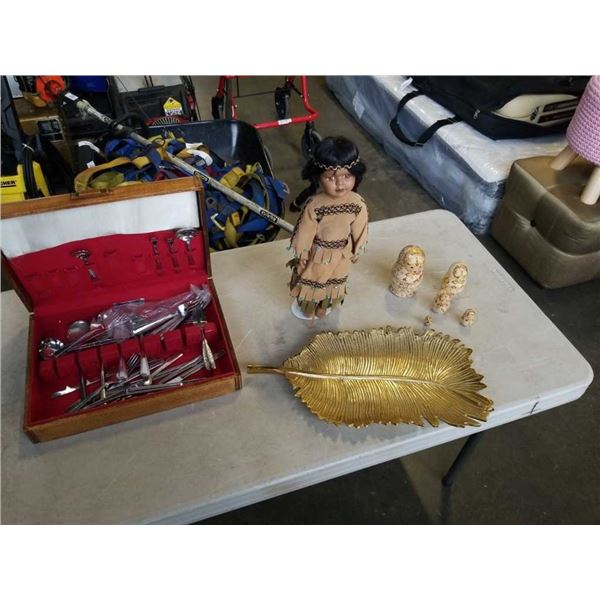 NESTING DOLL SET, FIRST NATIONS COLLECTOR DOLL, CUTLERY CANTEEN WITH CONTENTS AND LEAF DISH