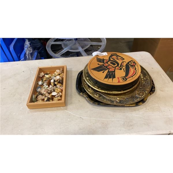 FIRST NATIONS ART BOX AND LID AND BRASS PLATES AND MINIATURE FIGURES