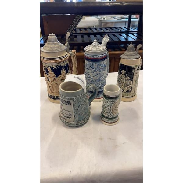 5 COLLECTABLE BEER STEINS