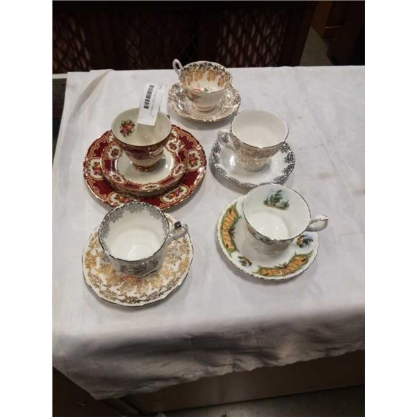 5 CHINA CUPS AND SAUCERS - PARAGON, WINTERLING, QUEEN ANNE AND 2 ROYAL ALBERT