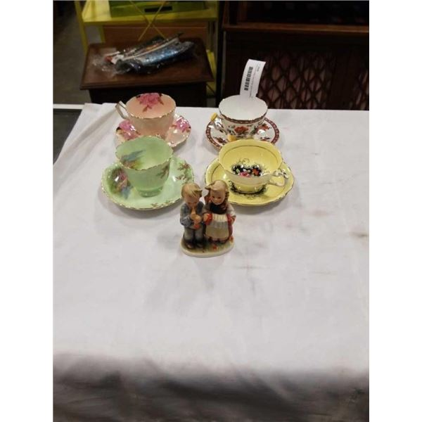 4 CHINA CUPS AND SAUCERS AND HUMMEL FIGURINE - 3 AYNSLEY, 1 PARAGON