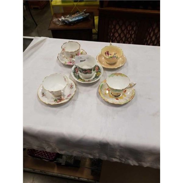 5 CUPS AND SAUCERS - PARAGON, ROYAL STAFFORD, ROYAL STANDARD, ROYAL CROWN DERBY AND ROYAL ALBERT AND