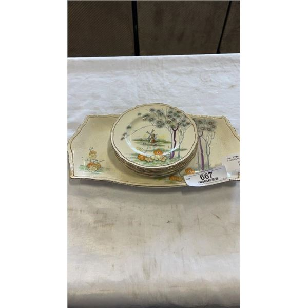 7 PIECES ROYAL WINTON - SERVING PLATTER AND 6 SIDE PLATES