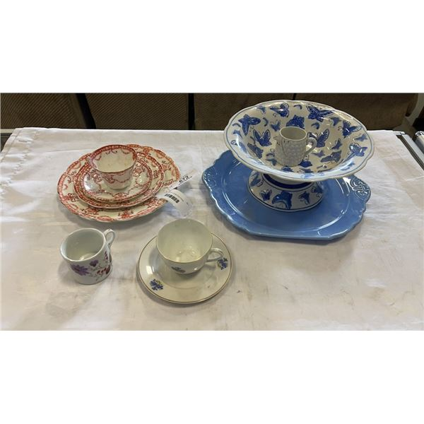 LOT OF ASSORTED CHINA PLATTERS, PLATES, CUPS, ETC