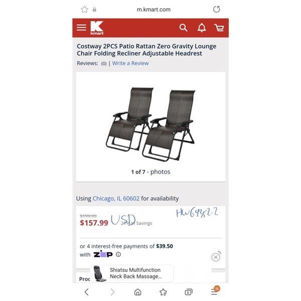 Costway 2PCS Patio Rattan Zero Gravity Lounge Chair Folding Recliner Adjustable Headrest