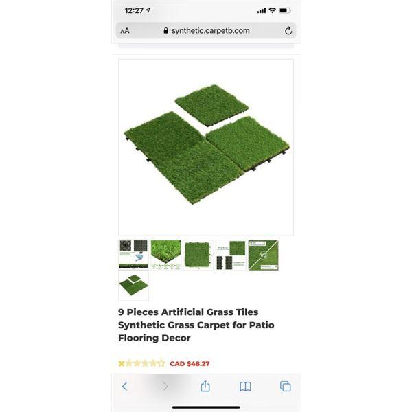 9 Pieces Artificial Grass Tiles Synthetic Grass Carpet for Patio Flooring Decor