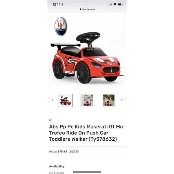 Abs Pp Pe Kids Maserati Gt Mc Trofeo Ride On Push Car Toddlers Walker