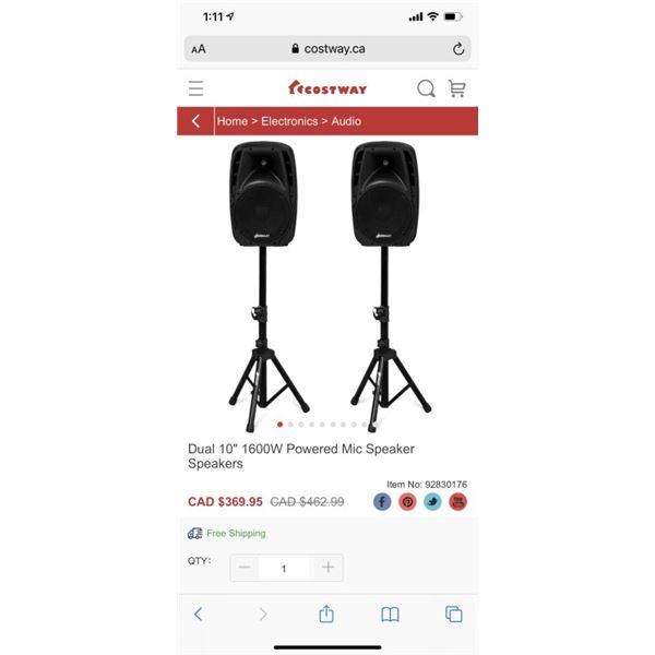 """Dual 10"""" 1600W Powered Mic Speaker Speakers"""