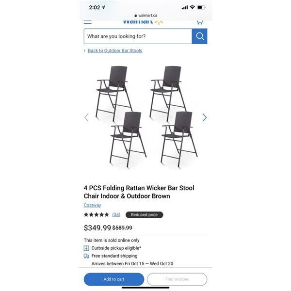 4 PCS Folding Rattan Wicker Bar Stool Chair Indoor & Outdoor Brown