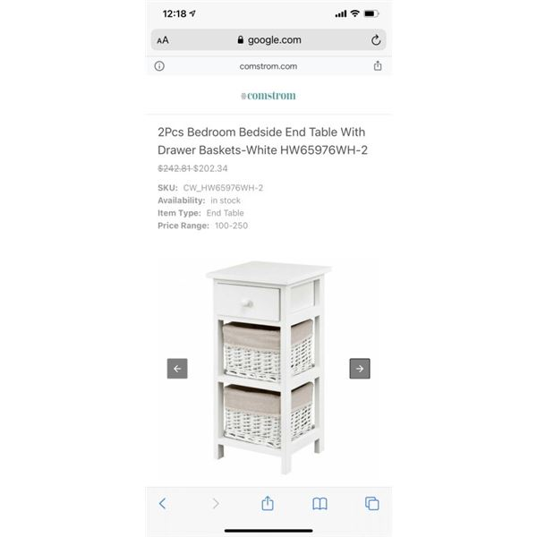 Bedroom Bedside End Table With Drawer Baskets-White