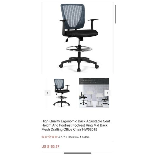 High Quality Ergonomic Back Adjustable Seat Height And Footrest Footrest Ring Mid Back Mesh Drafting
