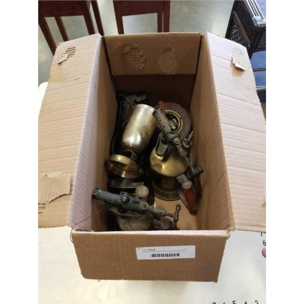 BOX OF ANTIQUE TOOLS BLOWTORCHES, FIRE EXTINGUISHER AND MORE